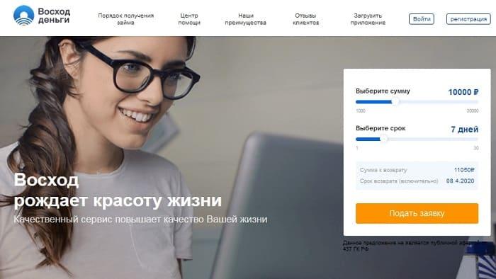 МФО Восход Деньги - личный кабинет