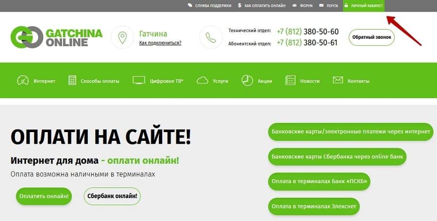 Гатчина Онлайн — личный кабинет
