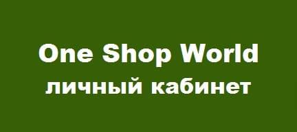 Личный кабинет One Shop World: как пользоваться системой